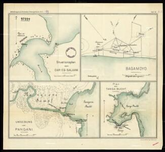 General layout of Dar Es Salaam [and] Bagamoyo [and] surroundings of Pangani [and] plan of Tanga Bay