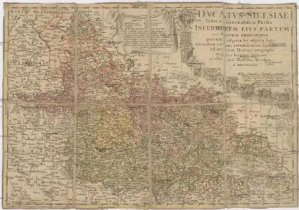 Dvcatvs Silesiae tabvla geographica prima, inferiorem eivs partem seu novem principatvs quorum insignia hic adjecta sunt, secundum statum recentissimum complectens