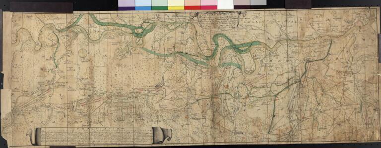 Le Cours Du Rhin Depuis Spire juisqu'à Mayence, les marches et Contremarches de l'Armée Francoise et les Camps y sont marqués Come aussi de l'Armée Alliée du coté du Main l'ann 1743 avec la Situation de l'Odewwald et du Berg Straass
