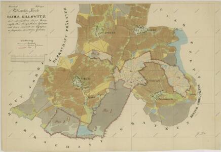 Přehledná mapa vrchnostenských pozemků v polesí Jílovice 1