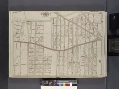 Queens, V. 1, Double Page Plate No. 4; Part of Jamaica, Ward 4; [Map bounded by Magnolia Ave., Division Ave., Market St., Briggs Ave., Atlantic Ave., Vanderveer Pl.]
