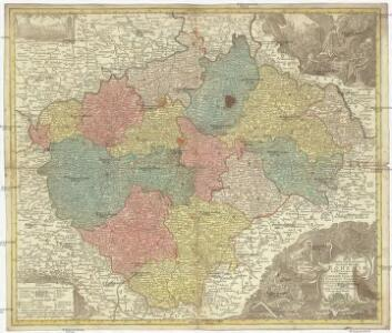 Mappa geographica totius regni Bohemiae in XII. circulos divisae, annexis comitatu Glacensi et districtu Egerano nec non aliis principatib. finitimis
