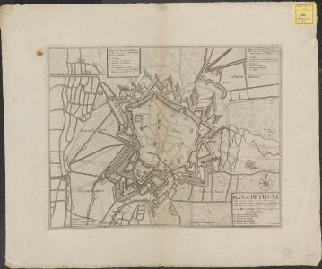 Plan de Bethune: ville forte du Comte d'Artois situe sur la pitite riviere de Lave a huit lieues de Lille huit de Douay six et demye d'Arras et quatre d'Aire