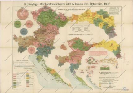 G.Freytag ́s Reichsrathswahlkarte aller 5 Curien von Österreich, 1897