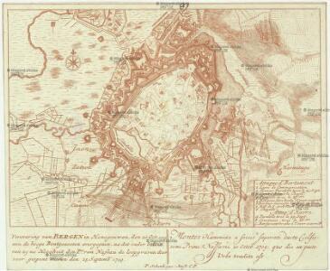 Verovering van Bergen in Henegouwen, den 20 oct. 1709 aen de hooge Bontgenooten overgegaen