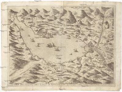 Vero dissegno del lago di Geneva con i lvoghi chel circondano