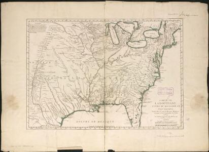 Carte de la Louisiane cours du Mississipi et pais voisins