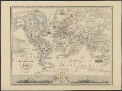 Nouveau planisphère indiquant les grandes divisions physiques et politiques de la terre, la géographie statistique et industrielle des differents états, les colonies européenes et l'époque des principales découvertes