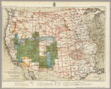 1880. Progress Map Of The U.S. Geographical Surveys West Of The 100th Meridian.