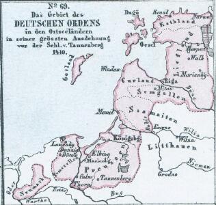 Das Gebiet des Deutschen Ordens in den Ostseeländern in seiner grössten Ausdehnung vor der Schl. v. Tannenberg 1410