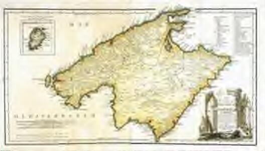 Mapa de la isla de Mallorca y de la de Cabrera
