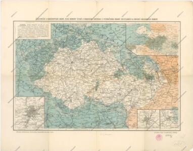 Železniční a národopisná mapa zemí koruny české a rakouska-uherska s vyznačením hranic dicésáních a obvodů obchodních komor