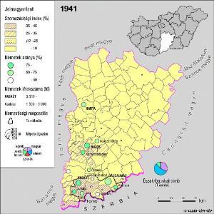 A németek településterülete a szomszédsági mutató alapján Bács-Kiskun megyében 1941-ban