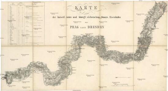 Karte der kaiserl. öster. und königl. sächsischen Staats-Eisenbahn von Prag nach Dresden