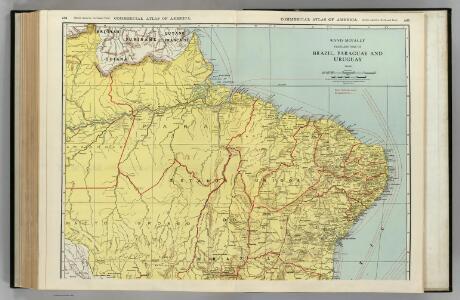 Brazil, Paraguay, and Uruguay (northern half).