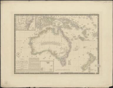 Carte de l'Australie : partie Sud-Ouest de l'Océanie