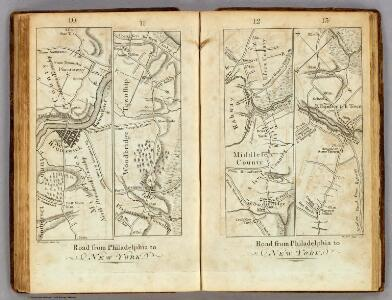 Road from Philadelphia to New York.  (Maps) 10, 11, 12 and 13.