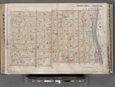 Jersey City, V. 1, Double Page Plate No. 11 [Map bounded by South St., Marshall St., Franklin St., Manhattan Ave., Hudson Blvd.] / compiled under the direction of and published by G.M. Hopkins Co.