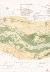 Carte über den Lauf des Rheins von Basel bis Lauterburg längs der Badisch - Französischen Grenze