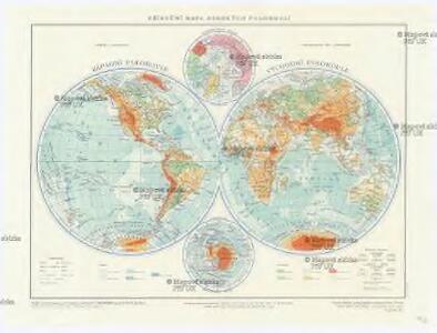 Příruční mapa zemských polokoulí