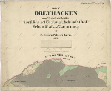 Katastrální mapa obce Tři Sekery WC-XV-17 dg