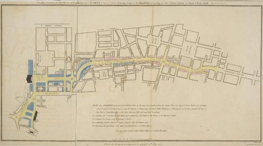 PLAN, presented to the House of Commons, of a STREET proposed from Charing Cross to Portland Place, leading to the Crown Estate in Mary-le-Bone Park