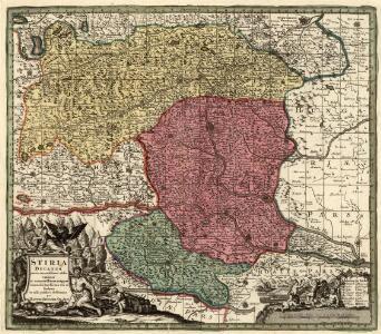Stiria Ducatus juxta recentissimas observationes et accuratissimas mappas commoda hac forma aeri sculptus et usui publico destinatus