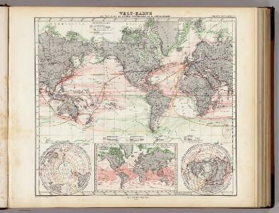 Welt-Karte zur Ubersicht der Meeres-Stromungen und des Schnellverkehrs.