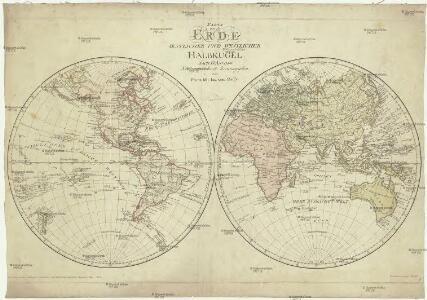 Karte von der Erde oestlicher und westlicher Halbkugel