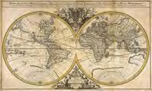 Mappe-Monde=geo-hydrographique, ou description generale du globe terrestre et aquatique, en deux-plans-hemispheres