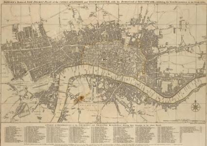 BOWLES'S Reduced NEW POCKET PLAN of the CITIES of LONDON & WESTMINSTER;  WITH THE BOROUGH OF SOUTHWARK, exhibiting the New Buildings to the YEAR 1780
