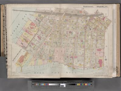 Jersey City, V. 1, Double Page Plate No. 37 [Map bounded by North St., Hobart Ave., Kill Von Kull, Newark Bay] / compiled under the direction of and published by G.M. Hopkins Co.