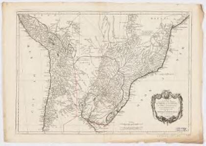 Carte qui représente la parte méridionale du Brésil et du Pérou, le Chili septentrional et le Paraguay : ce qui fait la partie de milieu de L'Amérique Méridionale