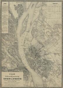 Plan der Ueberschwemmung von Ofen und Pesth: bei dem Eisgang des höchsten Wasserstandes vom 15ten auf den 16ten März 1838 zum Besten der durch die Ueberschwemmung Verunglückten