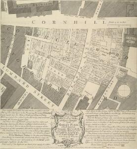 Plan of all the Houses destroyed and damaged by the GREAT FIRE which began in Exchange Alley Cornhill, on Friday March 25, 1748.