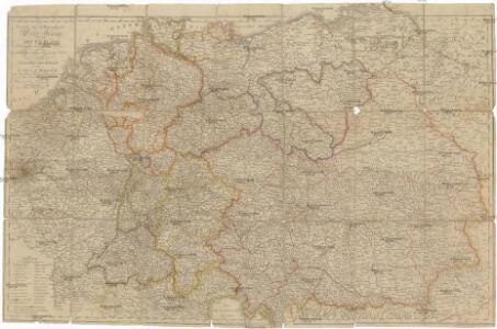 Neueste und vollstaendigste Post Karte von ganz Deutschland Niederlanden Schweiz Pohlen Ungarn und den angränzenden Theilen Frankreichs u Italien