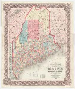 Colton's railroad & township map of the state of Maine, with portions of New Hampshire, New Brunswick & Canada