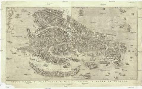 Nuoua pianta eleuata della nobile e cospicua citta di Venezia