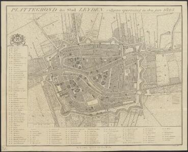 Plattegrond der stad Leyden, volgens opneming in den jare 1825