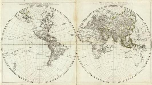 Hemisphere Occidental ou du Nouveau Monde. Hemisphere Oriental ou de l'Ancien Monde.