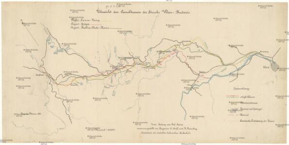 Übersicht der Canaltracen der Strecke Wien-Budweis