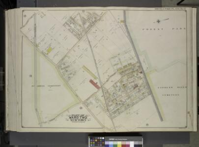 Queens, Vol. 2, Double Page Plate No. 42; Part of     Ward Two Newtown; [Map bounded by Trotting Course Lane, Poplar Ave., Hazel Ave., Spruce Ave., Larch Ave.; Including Myrtle Ave., Thompson Ave., Dry Harbar Road,  Metropolitan Ave.]