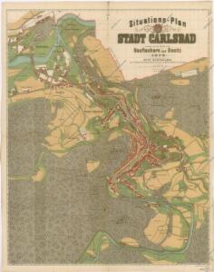 Situations Plan der Stadt Carlsbad sammt einem Theile von Neufischern und Donitz
