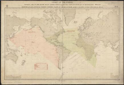 Chart of the world showing area in the Pacific Ocean having Hawaii as the only base of supplies in transpacific voyages and showing an area of equal extent covering parts of America, Europe, Africa, Atlantic Ocean and Indian Ocean