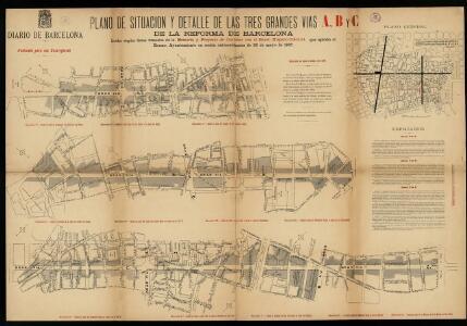 Plano de situación y detalle de las tres grandes vías A, B y C de la reforma de Barcelona, hecho según los datos tomados de la Memoria y proyecto de contrato con el Banco Hispano-Colonial, que aprobó el  Ayuntamiento el 22 de mayo de 1907