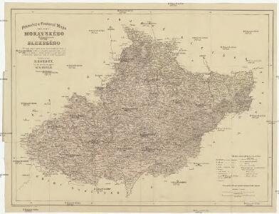 Příruční a cestovní mapa Markrabství moravského a Vévodství slezského