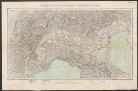 Carta dell'Italia superiore coi passaggi delle Alpi