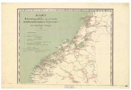 Spesielle kart 88-1: Rikstelegrafens og private telefonselskapers linjeruter i det sydlige Norge
