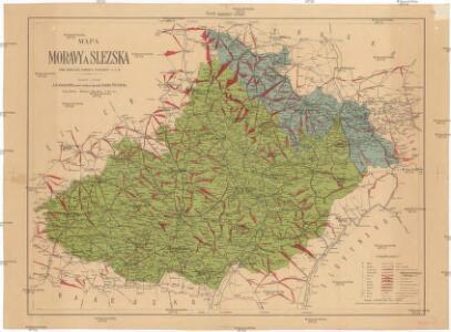 Mapa Moravy a Slezska pro cestující, turisty, cyklisty a t. d