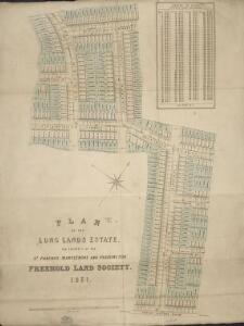 Plan of the Long Lands Estate, the property of the St. Pancras, Marylebone and Paddington Freehold Land Society.